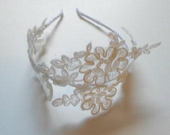 Handmade Ivory Lace Headband/Tiara, Bridal Hair Accessories