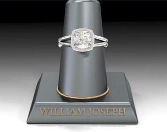 The Penelope NEO Moissanite 1.70CT Cushion Cut & Diamond Halo Engagement Ring