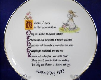 Holly Hobby Mother's Day 1973 Plate with  Poem