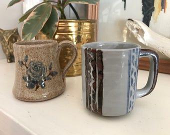 Set of 2 Vintage Stoneware Mugs - Brown Blue Coffee Handmade Boho - Rose