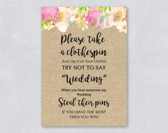 Please take a clothespin / Don't say wedding / Bridal shower game / Floral watercolor / Burlap / Tropical summer / INSTANT DOWNLOAD