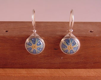 Snowflake Enamel Earrings - Enamel & Sterling Silver Earrings