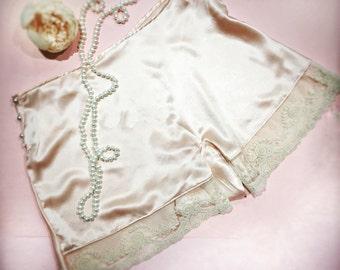 The Georgia-1920s, vintage, art deco, silk, pink, peach,tap pants, panties, burlesque, pin up, flapper, valentines, wedding, bride, bridal