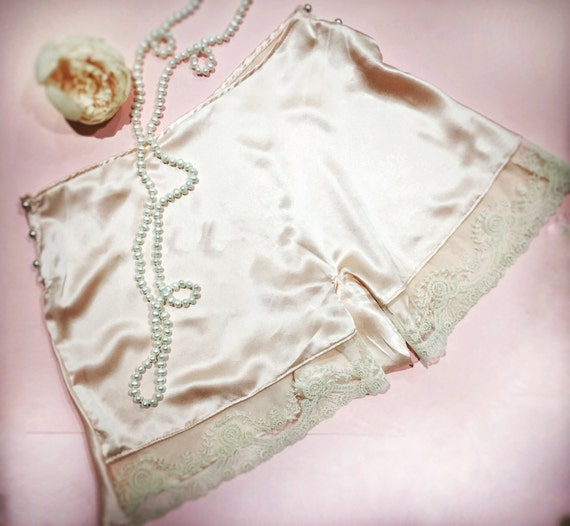 1920s Lingerie History- Slips, Steps Ins, Robes, Night Gowns and Bed Caps The Georgia-1920s vintage art deco silk pink peachtap pants panties burlesque pin up flapper valentines wedding bride bridal $124.18 AT vintagedancer.com
