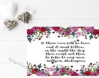 Shakespear Quote, Shakespear Print, Shakespear Art, Shakespear
