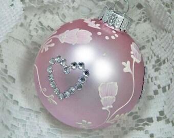 Painted Ornament. Hand Painted Ornament. Mud Ornament. Glass Ornament. Pink Glass Ornament.