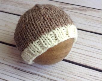 Neutral Beanie, Newborn Beanie, Knit Wool Hat, Knit Hat, Wool Hat, Newborn Prop Hat, Baby Boy, Baby Girl, Newborn Hat, Brown, Cream