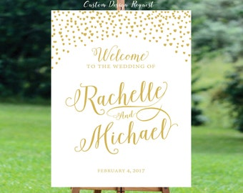 Personalized, DIY Printable, Gold Confetti, Wedding Welcome Sign, Navy Blue, Navy and Gold, Modern Wedding Sign - US_WS0203