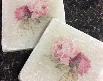 Vintage Roses! Set of 4 Marble Coasters