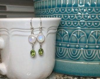 Silver, rainbow moonstone, and peridot earrings
