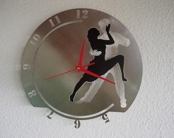 Wall clock dance Tango couple dancers stainless steel Mural art watch design wall clock love