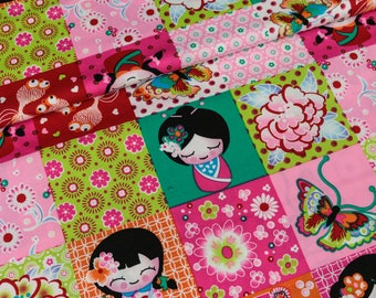 Cotton Geisha patchwork look green (10.50 EUR / meter)