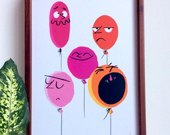 Balloons, A4 Print