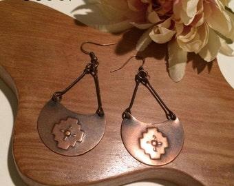 Aged finish Copper Earrings