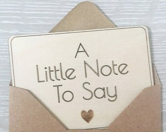 Mini Note Card - Just to Say - Miniature Notecard - Wooden Postcard - Wooden Card - Thank You Card - Thank You Note - Wedding Note Card