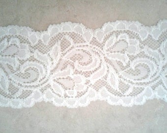 "3"" width, WHITE LACE, elastic stretch lace, clothing accessories, undergarment, white lace, off-white, rubberized lace, nightie"