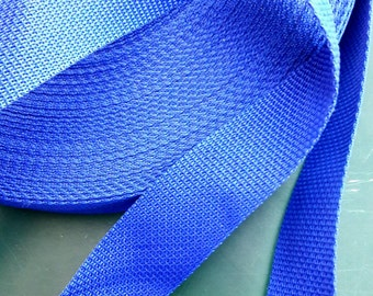 "1.5"" width, ROYAL BLUE nylon WEBBING, hand bag straps, polyester sturdy straps, belt, webbing luggage straps, blue, turquoise, heavy duty"