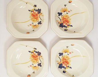 Vintage Mikasa dinner bowl-serving bowls-1980's-Burnt orange cobalt blue-flower motif-breakfast bowl-soup bowl-set of 4