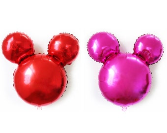 Mickey Mouse Balloon || 25 inch Minnie Foil Birthday Balloon || Red or Pink Party Decor Photo Prop