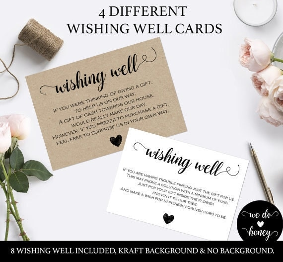 Wishing well cards for wedding -  Cards and Gifts Sign - Wishing Well Kraft - Printable wishing well sign - Downloadable wedding #WDH0046