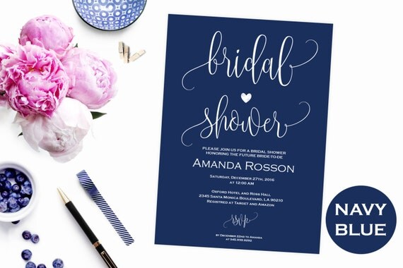 Bridal Shower navy blue wedding invitations - Bridal Shower Calligraphy invitation - Navy & White Modern Script Wedding Invitation #WDH0095