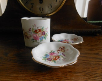 Coalport June Time cigarette holder and ash trays