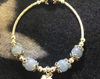 Specially Designed Natural Blue Aquamarine Round Beads Bracelet