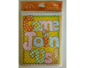 Vintage Flower Power Invitations - Come Join Us! Sealed 8 Pack 1970's