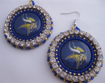 Beaded Minnesota Vikings Earrings Native American Beadwork Purple Gold