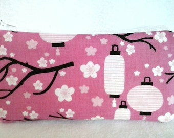 Padded zipper wallet coin purse, Floral and Branches, Lanterns, Garden, padded coin pouch, cash, credit card, pink