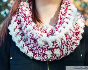 Candy Cane Cowl Neck Crochet Scarf