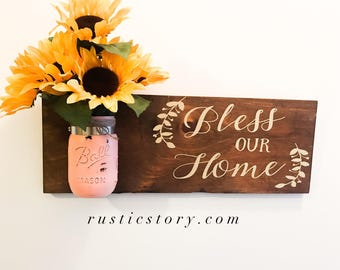 Bless our Home wooden sign with Mason Jar, Home Decor