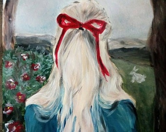 Dear Alice acrylic painting on paper a3 in wonderland doll portrait woman kid child