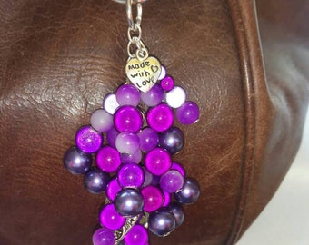 Purple Miracle glow bead and pearl key chain or bag charm, gift, mother, sister, daughter, friend, present