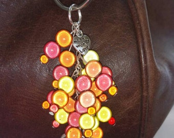 Orange miracle glow bead key chain or bag charm,gift, mother, sister, daughter, friend, present