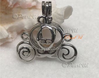 Cinderella Carriage Pearl Cage Pendant Optional Chains AKOYA OYSTER