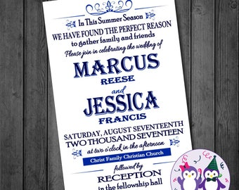 Blue Summer Wedding Invitation