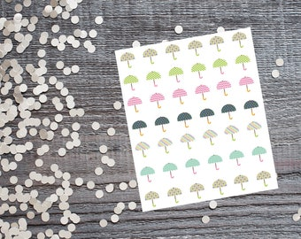 Rainbow Umbrella Stickers-Umbrella Stickers-Compatible With Most Planners Including Erin Condren™Planner-Large Name Planner Compatible