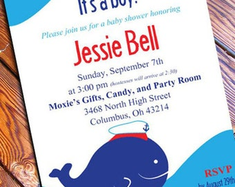 Nautical Baby Shower Invitation / Anchor Baby Shower Invitation / Ahoy Its A Boy/ whale / Navy and red