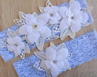 Wedding Garter, Blue Garter, Wedding Garter Set, Blue Garter Set, White Garter, Rose Wedding Garter, Lace Garter, Garter Blue, Bridal Garter