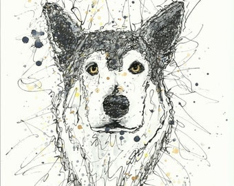 NYMERIA THE DIREWOLF, Game of Thrones fanart, unframed signed original, ink and watercolour, scribble style, A4 (210x297 mm/8.3x11.7 inches)