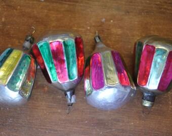4 Antique Christmas Ornaments Soviet Lanterns Vintage Tree Decoration Ornament Silver Glass Collection Set