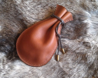 Tribal / Barbaric leather dice purse for Larp or roleplay