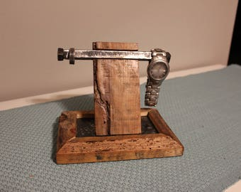 Mens iPhone watch and ring stand for dresser top