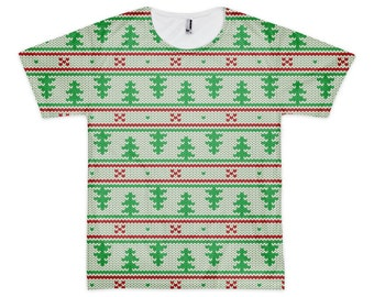 """Green Trees Knit - Men's/Unisex T-Shirt - All-Over Print, Sublimation, """"Ugly Christmas Sweater""""-style"""