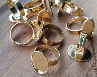 Bright Gold Plated Adjustable Ring - 10 pcs - vintage style - vintage ring - vintage findings - silver ring - adjustable ring