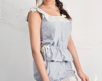 Marl Grey Jersey Cotton Playsuit Nightwear /Sleepwear in Size 8-10, 12-14