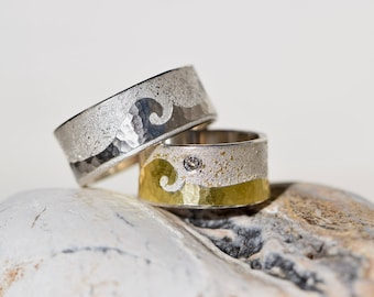 Wedding bands Platinum Silver Gold * OCEAN *.