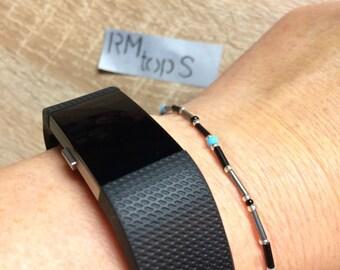 Bracelet beads minimalist Black Silver turquoise Bracelet pearls minimalist black silver turquoise unique unique specimen