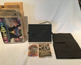 Vintage 1986 Lite Brite Toy #4780 with Box, Pegs, Used/Unused Sheets and Instructions